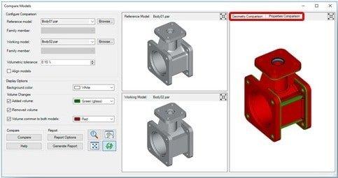 SolidEdge 2020, Interface de la fonction Comparaison des modèles